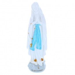 Our Lady of Lourdes colour resin statue on rock 30 cm
