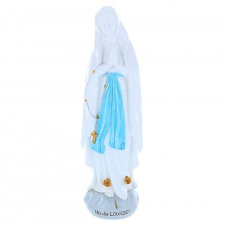 Statue Vierge Marie en résine colorée sur rocher 30 cm