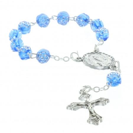 Chapelet dizainier de Lourdes grains en forme de rose et coeur Apparition de Lourdes
