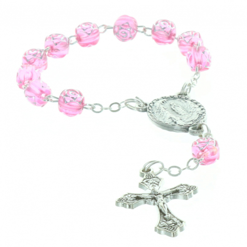 One-decade rosary rose-shaped beads and centerpiece Lourdes Apparitiong