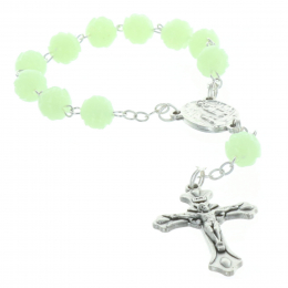 One-decade rosary glow-in-the-dark beads and Lourdes Apparition centerpiece