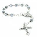 One-decade rosary silvery beads centerpiece Lourdes Apparition