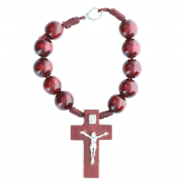 One-decade rosary colour wood beads and Jesus cross
