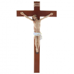 Wooden crucifix and resin realistic Christ 44.5 cm