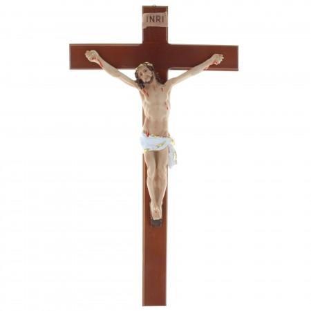 Crucifix bois et Christ réaliste en résine 44,5 cm