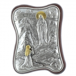 Lourdes Apparition silvery religious picture frame wave form 4.5 x 6.5 cm