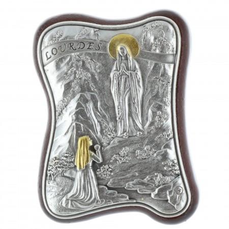 Chevalet religieux ondulé Apparition de Lourdes argentée 4,5 x 6,5 cm