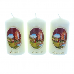 3 pieces set Lourdes Apparition candles 8 cm