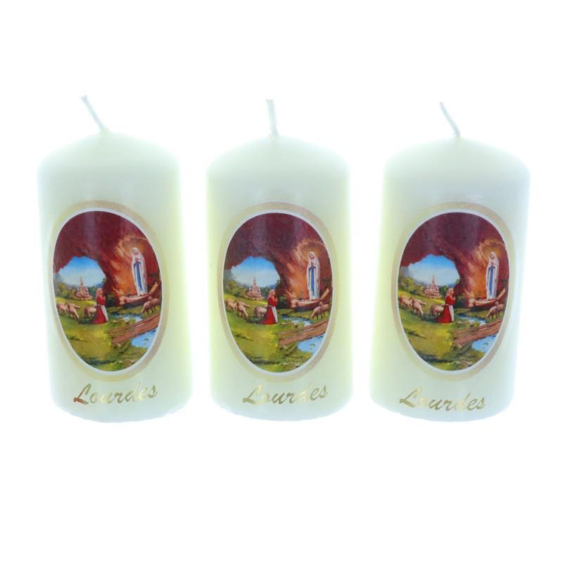 Lot de trois bougies Apparition de Lourdes 8 cm