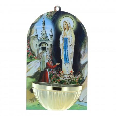 Bénitier bois image Apparition de Lourdes 8,5 x 14,5 cm