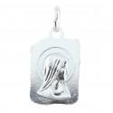 Médaille métal argenté en forme de parchemin et Apparition de Lourdes