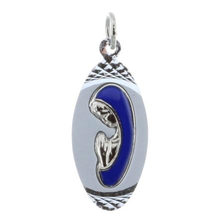 Médaille métal argenté et Vierge Marie