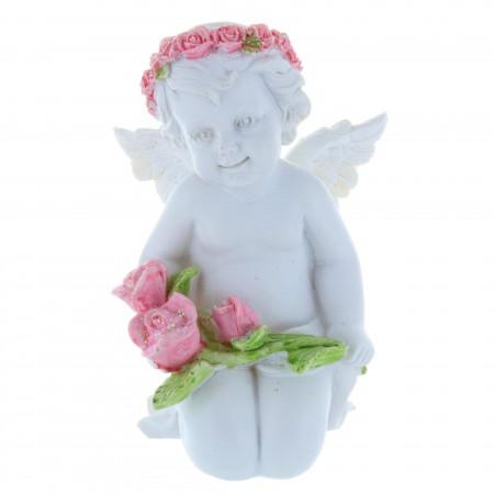 Statue Ange blanc couronné de roses en résine 12 cm