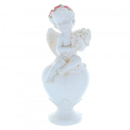 Statue Ange blanc et coeur en résine 22 cm