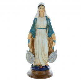Our Lady of Lourdes colour resin statue on a base 20 cm
