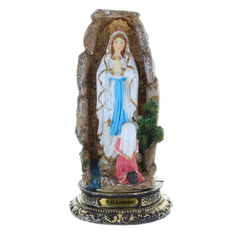 Statue Apparition de Lourdes et grotte colorée en résine 14 cm