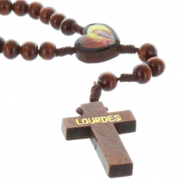 Cord rosary wood beads, paters and centerpiece Lourdes Apparition and Saint Bernadette