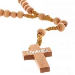 Cord rosary wood beads, Pax cross and Lourdes