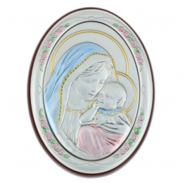 The Virgin and infant Jesus oval religious frame 7 x 10 cm