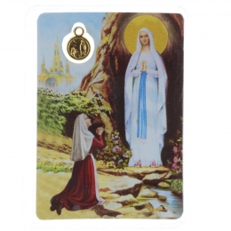 Set of 5 Lourdes Apparition plasticized prayer cards and Lourdes Apparition medallion