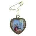 Broche métal doré coeur Apparition Lourdes et portrait Vierge Marie