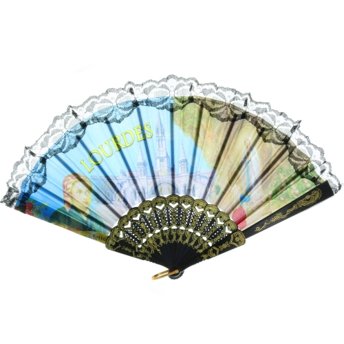 Lourdes cloth and lace fan