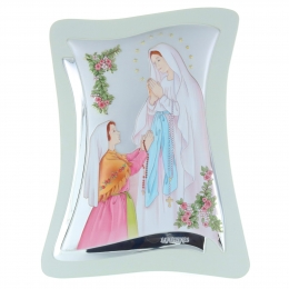 Lourdes Apparition silver coloured religious frame 21 x 32,5 cm
