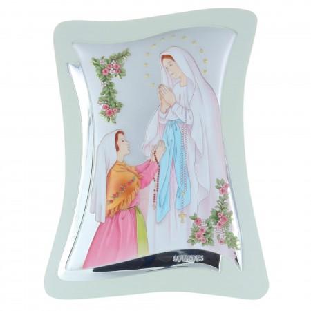 Lourdes Apparition silver coloured religious frame 21 x 32,5 cm