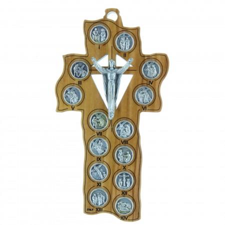 Crucifix en bois d'olivier du Chemin de Croix 12,5 cm
