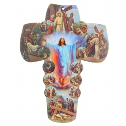 Wood cross with the 14 stations of the Way of the Cross 30 cm