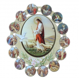 Wood frame of the 14 Stations of the Way of the Cross 13 x 15 cm