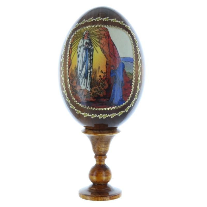 Oeuf en bois avec icone de l'Apparition de Lourdes 10 cm