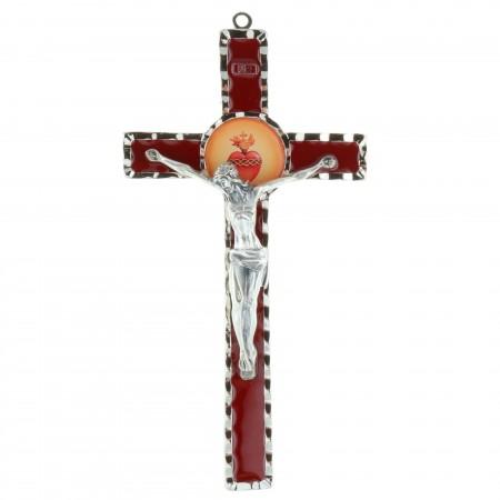 Crucifix en métal du Sacré coeur de Jésus 17 cm