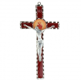 Sacred heart of Jesus metal crucifix 17 cm
