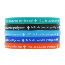 "Batch of 5 colour silicon multilingual fancy bracelets ""Our Lady of Lourdes, protect me"""