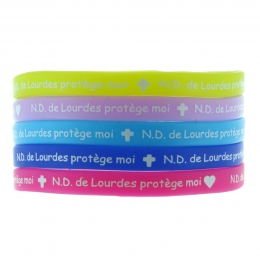 "Batch of 5 child multilingual colour silicon fancy bracelets ""Our Lady of Lourdes protect me"""""