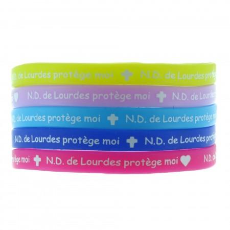"""Lot de 5 bracelets fantaisie enfant """"ND. de Lourdes protège moi"""" colorés en silicone multilingue"""
