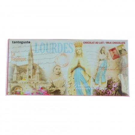 Tablette chocolat au lait 100g et image de Lourdes sépia