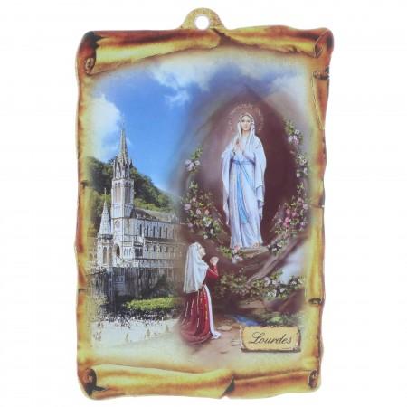 Cadre religieux en bois forme parchemin Apparition de Lourdes dorée 9,5 x 15 cm