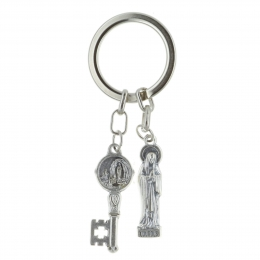 Key-ring two pendants, Our Lady and Lourdes Apparition