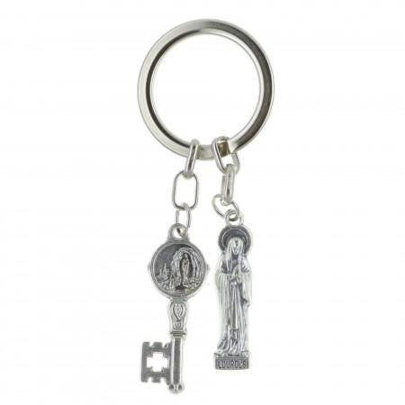 Porte-clés deux pendentifs, Vierge Marie et Apparition de Lourdes