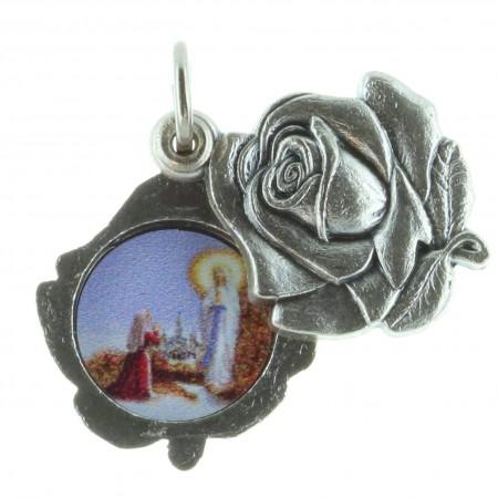 Médaille métal en forme de Rose et Apparition de Lourdes