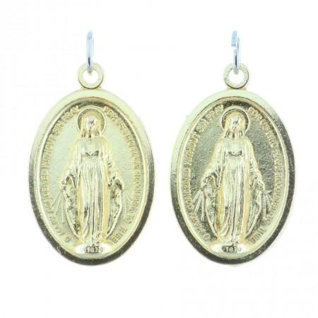 Lot de 2 médailles métal doré la Vierge Miraculeuse