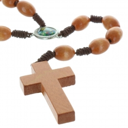 Genuine cord rosary and big wood beads