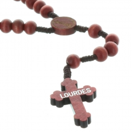 Lourdes cord rosary wood beads and centerpiece Lourdes Apparition