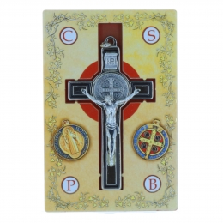 Crucifix métal de Saint Benoit avec un cordon  et livret 8 cm