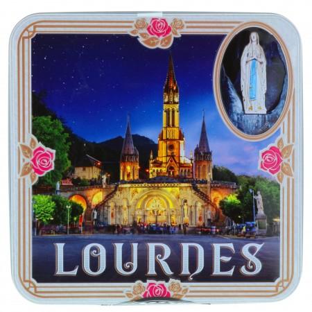 Coffret gourmand, boîte à biscuit vue Basilique de Lourdes contenant 120g de sablés
