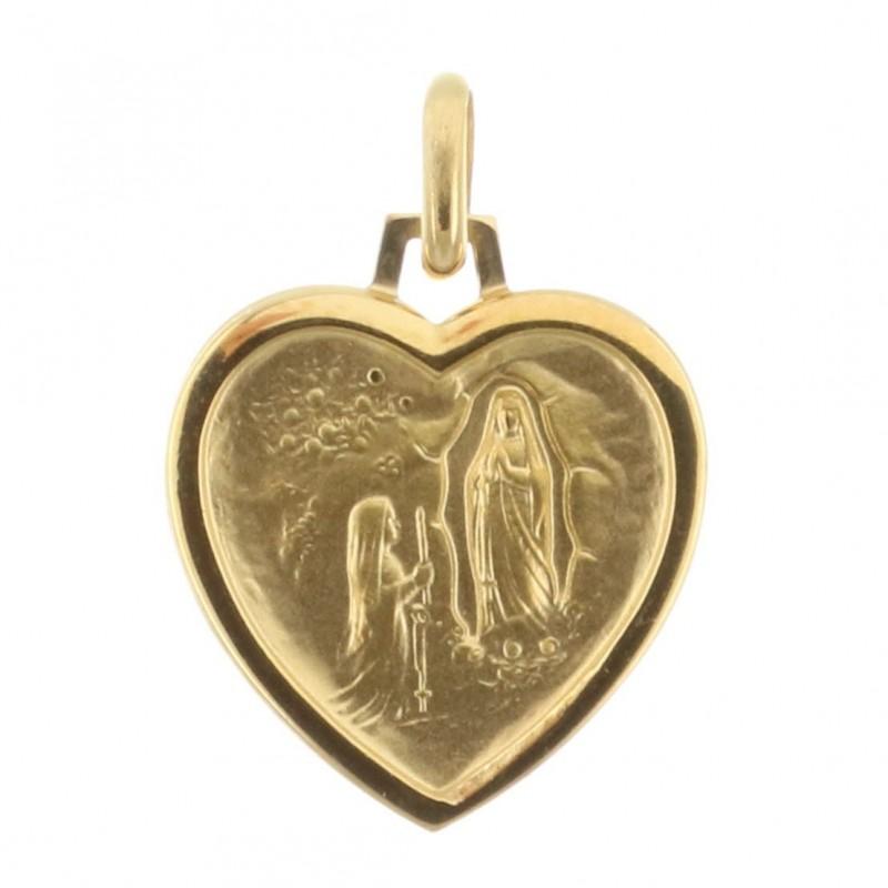Médaille Plaqué Or 18 carats de l'Apparition de Lourdes en forme de coeur