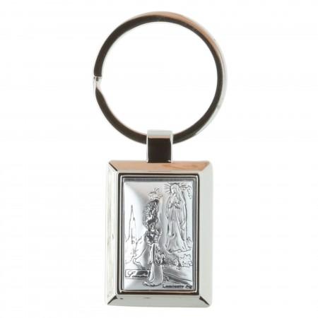 Porte-clés rectangle Apparition de Lourdes en boîte
