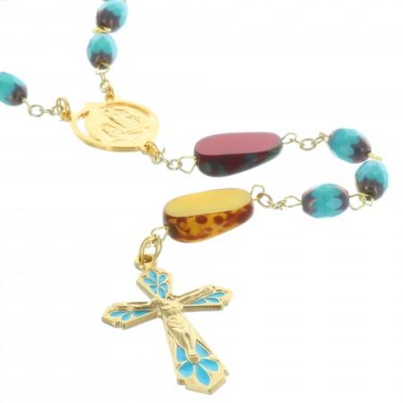 Chapelet de Lourdes et grains en verre Vallauris colorés
